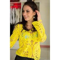 Bata Blusa Camisa De Renda Guipir Crochê - Pronta Entrega