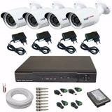 Kit 4 Câmeras Segurança Imagens Em H D Acesso Internet Cftv