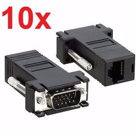 Kit 10x Adaptador Vga X Rj45 Conversor Cabo De Rede Monitor