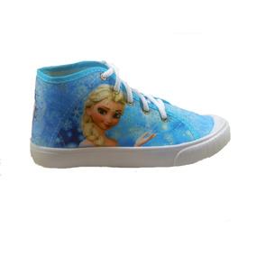 Tênis Cano Médio Botinha Frozen Azul Elsa Olaf