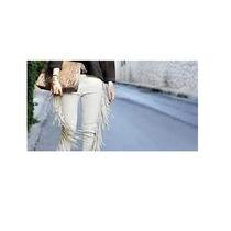 Pantalon Isabel Marant Piel Verde Olivo Con Flecos,vuitton