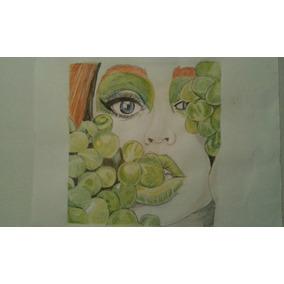 Dibujo A Lápiz. Color. Mujer. Rostro. Arte.
