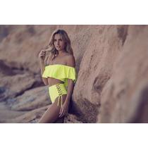 Bikini Top Con Volados Y Taza Soft Con Culotte Tiro Alto