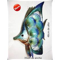 Adorno/cuadro De Peces Hecho En Hierro Y Nacar 48x35cm