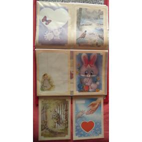 6 Papéis De Carta Antigos Borda Amarela. Scrapbook, Colagens