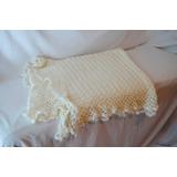 Manta Mantilla De Bebé Crochet Blanca Lana San Miguel