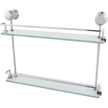 Porta Shampoo Duplo Super Luxo Vidro E Alumínio Vidro 8 Mm