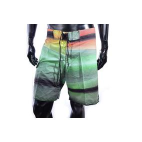Short De Baño Media Pierna Verde A Rayas Colores Microfibra