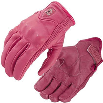 Guantes Dama Rosa Mujer Icon Persuit Moto Piel Deportivo