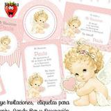 Kit Imprimible Bautismo Nena Angelita Con Corazón Candy Deco
