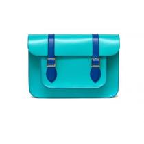 Bolsa Piel Original Moda Mujer Satchel Turquesa Con Azul