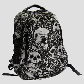 Mochila Rock Caveiras E Rosas - Rock Punk Tumblr Geek