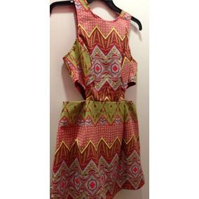 Vestido Vazado Estampa Etnica Novo Tam P