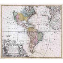 Lienzo Tela Mapa Antiguo Continente Américano 1846 50x57 Cm