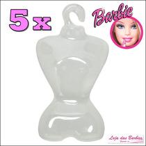 Lote Kit Com 5 Cabides ( Estilo Manequim ) P/ Boneca Barbie