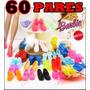 Kit Lote C/ 60 Pares De Sapatos Diferentes P/ Boneca Barbie