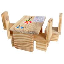 10un Mesa Com Cadeiras De Madeira
