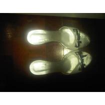 Sandalias Blaque Cuero Autenticas 100% Blanco Dorado T 36