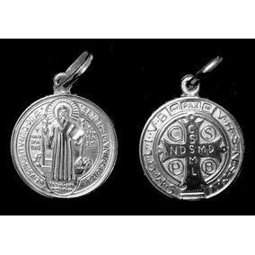 Pingente Medalha De Sâo Bento Em Pe Em Prata Ref 0005