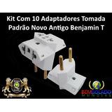Kit C 10 Adaptadores Tomada Novo Padrão Abnt Benjamin T + Pe