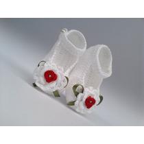 A187 Sapatinho De Croche Branco De Menina Flor Laco Feminino