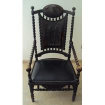 Cadeira Antiga Pirogravura Couro Torneada Anos 30 Madeira