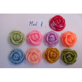 Apliques Flores De Porcelana Fria, 2 Cm.,x 10 U.