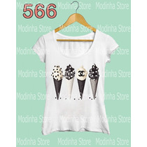 Sorvete Chanel Camiseta Blusa Tshirt Feminina Moda Fashion