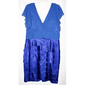 Vestido Fiesta Corto Azul Talla Xl Americano Olanes Chifón