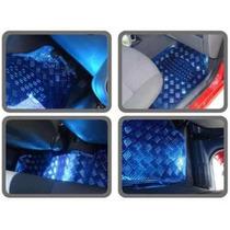 Jogo De Tapetes Automotivos Carro Cromados Azul Tuning