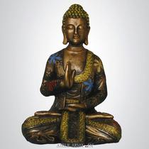 Buda Floral Sentado - Escultura Estatueta Enfeite