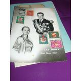 Postal Año 1956 C 5 Sellos Boda Rainiero Grace Kelly