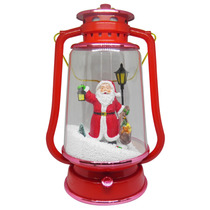 Lampiao Papai Noel Musical Efeito Neve Enfeite Natal Led