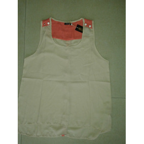Blusa, Camisa De Gasa Beige Y Salmon. Sin Mangas!