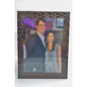 Porta Retrato 10x15 Tabaco Textura Trançado Frente De Vidro!