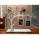 Árvore Porta-retrato Decoração Passarinho -mdf Branco Laser