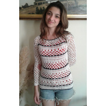 Sweater Calado Sobre Remera Tejido Crochet Hilo Rayas Otoño