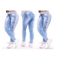 Calças Jeans Femininas Rasgada Moletom Lycra Destroyed