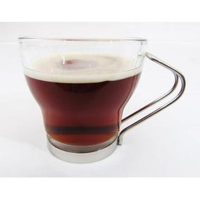 Jogo 6 Xícara Chá 220 Ml Vidro Com Suporte Metal Caneca Café