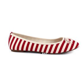 Flats Marineros Zapato Beige Rojo Textil Casual 24 1/2