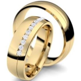 Par De Alianças Puro Amor Em Ouro 18k E Diamantes