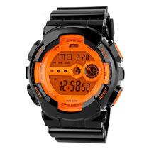 Reloj Digital Skmei 1026 Naranja Crono Alarma Luz Wr50m Gtia