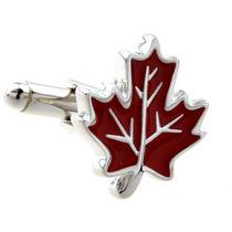Mancuernillas Hoja De Maple Bandera De Canada Plateado Rojo