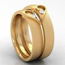 Par De Alianças Dois Corações Em Ouro 18k E Diamantes