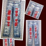 Calça Jeans Vakko 40 Cargo Customizada Destroyed Detonada