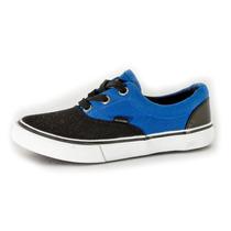 Zapatillas De Lona Con Elastico Davor Chicos Azules Y Negras