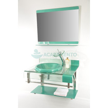 Gabinete De Vidro Banheiro 70cm Verde