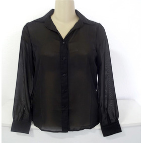 Camisa Preta Feminina Tam M / Gg Semi Transparente Social