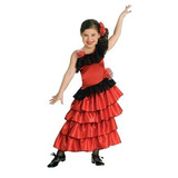 Disfraz Traje Rojo Y Negro Español Princesa Del Niño, Peque