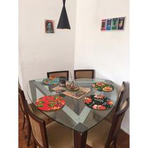 Mesa De Jantar Tampão De Vidro Triangular C/ 6 Cadeiras